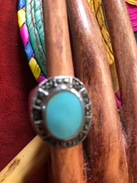 Sterling silver & marquesite with turquoise stone ring
