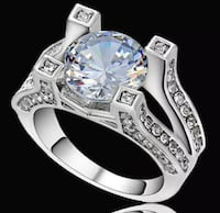 Round White Zircon With White Rhodium ( Platinum )Plated. Chesapeake, 23321