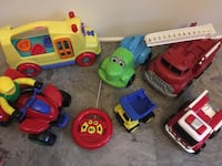 Trucks buses and car toys