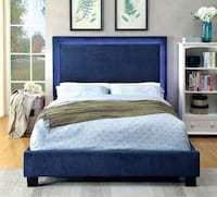 FOA Blue LED lighted headboard trip queen size platform bed frame only  College Park