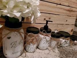 Handmade distressed ball storage jars, vintage looking.