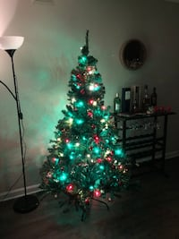 Artificial Christmas Tree w/ lights and decorations