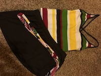 black, white, and green striped shorts Crown City, 45623