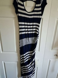 white and navy stripe short sleeve maxi dress