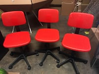 6 red plastic accent office chairs Culver City, 90232
