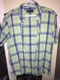 Blue and green plaid button-up t-shirt