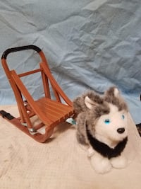 American Girl Doll Husky Sled Dog With Sled And Harness Retired