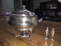 Silver Chaffing Dish with Pyrex Bowl and sterno, also silver salt & pepper shakers. - Osoyoos