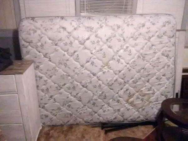Queen size white and gray floral mattress