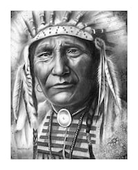 Chief and Warrior charcoal drawing