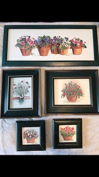 Five flower prints with Hunter Green wood frames. Mesquite, 75149