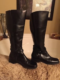 Black leather buckle strap heeled knee high boots Westfield, 46074