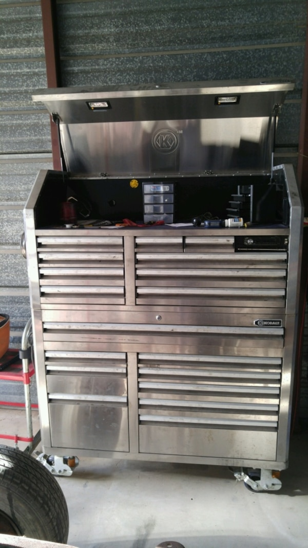 Kobalt Tool Cabinet >> Used Stainless Kobalt Tool Box With Built In Pioneer Stereo For Sale