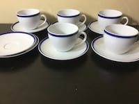 Williams sonoma white-and-blue ceramic cups with saucers 60 km