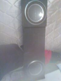 grey and black rectangular tower speakers