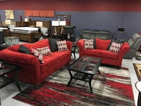 Isabella Vibrant Red Custom Made Reverse Camel Hump Living Room Collection  Charlotte, 28216
