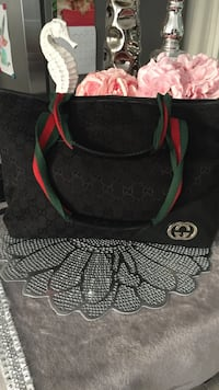 Black and green Gucci leather tote bag