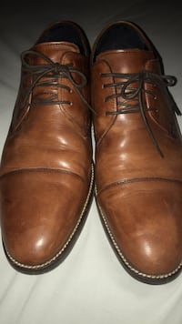 pair of brown leather dress shoes Bristow