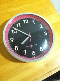 Pink and black wall clock McLean, 22102
