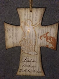 Hanging Inspirational Wooden Sign/Cross