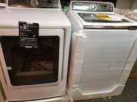 white-and-gray Samsung front-load clothes dryer and top-load washer