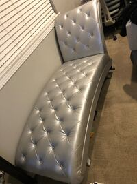 Crystal tufted metallic chaise lounge