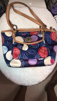 blue and brown Coach monogram shoulder bag Woodbridge, 22193