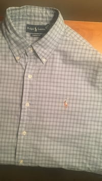 gray and black gingham Ralph Lauren button-down dress shirt