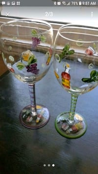 Plate with matching lid and wine glasses