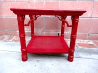 Red asian-inspired accent table Bellflower