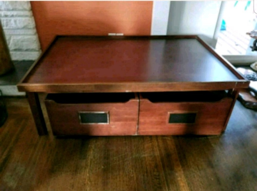 used brown wooden square coffee table with drawers for sale in rh ca letgo com