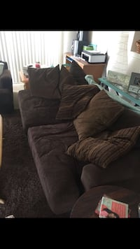Dark brown cloth couch and loveseat, pillows included! Tampa, 33602