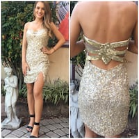 Women's sequined gold-colored tube mini dress size 8 Hanover, 17331