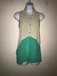 Medium women's Brown and green sleeveless collared top