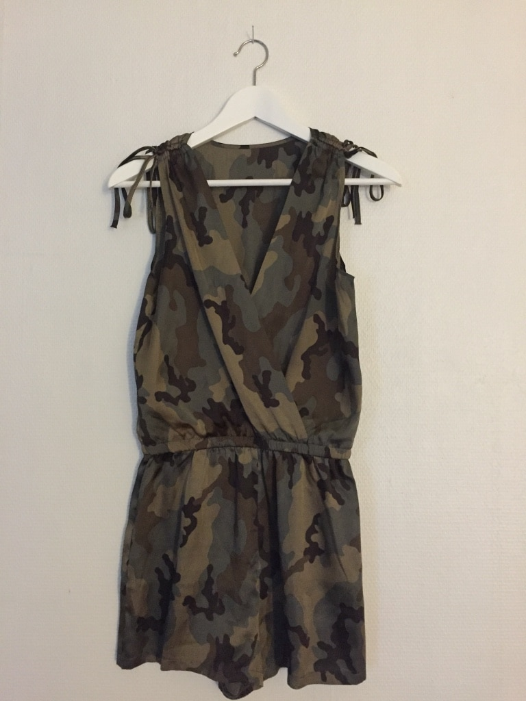 women's black green and white camouflage sleeveless dress