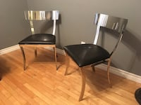 Beautiful modern stainless steel and leather chairs Toronto, M2J 2Z7