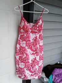 women's pink and white floral spaghetti strap dress