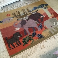"""Model home animal Hooked rug (51""""x44"""" with 5"""" fringe on each side)"""