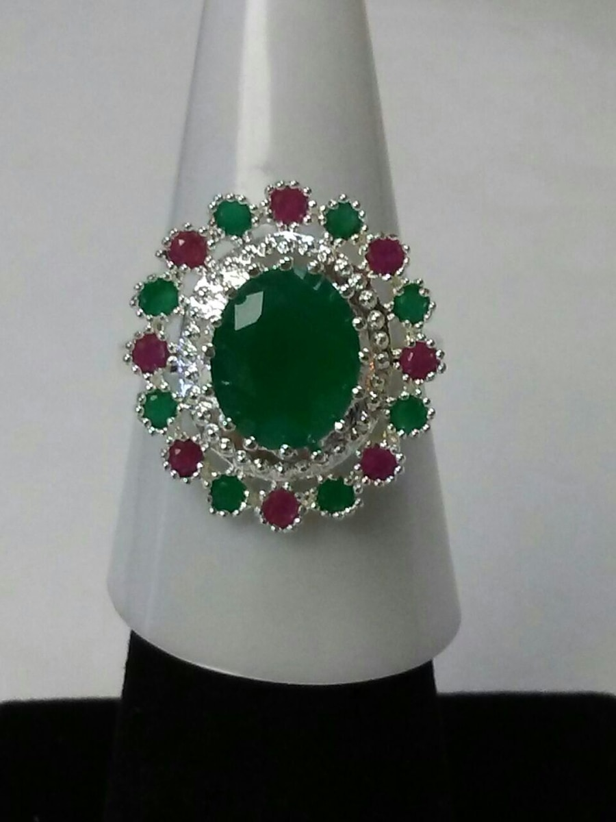 Photo Reduced.Emerald Green and Ruby Red