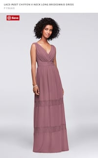 LACE-INSET CHIFFON V-NECK LONG BRIDESMAID DRESS Valley Stream, 11581