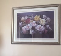 white and pink flower painting with brown wooden frame Mississauga, L4X 1C9
