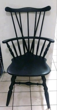 Antique Black Solid Wood Chair