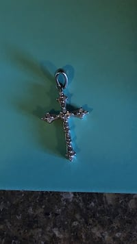 silver  real diamond cross pendant from people's