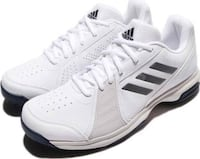pair of white-and-black Adidas low-top sneakers
