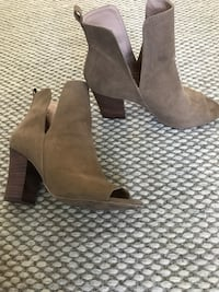 pair of brown suede booties Vancouver