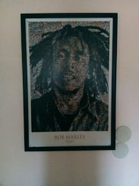 Bob Marley mosaic photo with wooden frame
