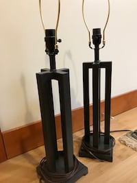 Two black based table lamps