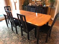 rectangular brown wooden table with four chairs dining set Sandy Springs, 30092