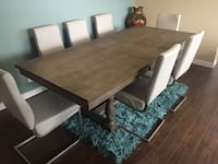 rectangular brown wooden table with six chairs dining set Port Moody, V3H 5K4