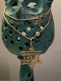 """18k GPL Star Of David With Chain Necklace 18"""" 3mm"""